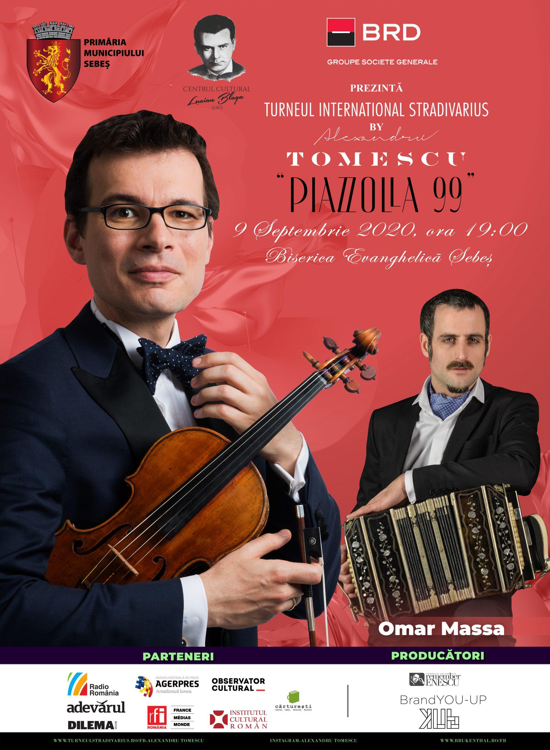 """Turneul internațional Stradivarius, numit """"Piazzolla 99"""", continuă și în acest an cu 12 concerte în România. Unul dintre ele va avea loc la Sebeș."""