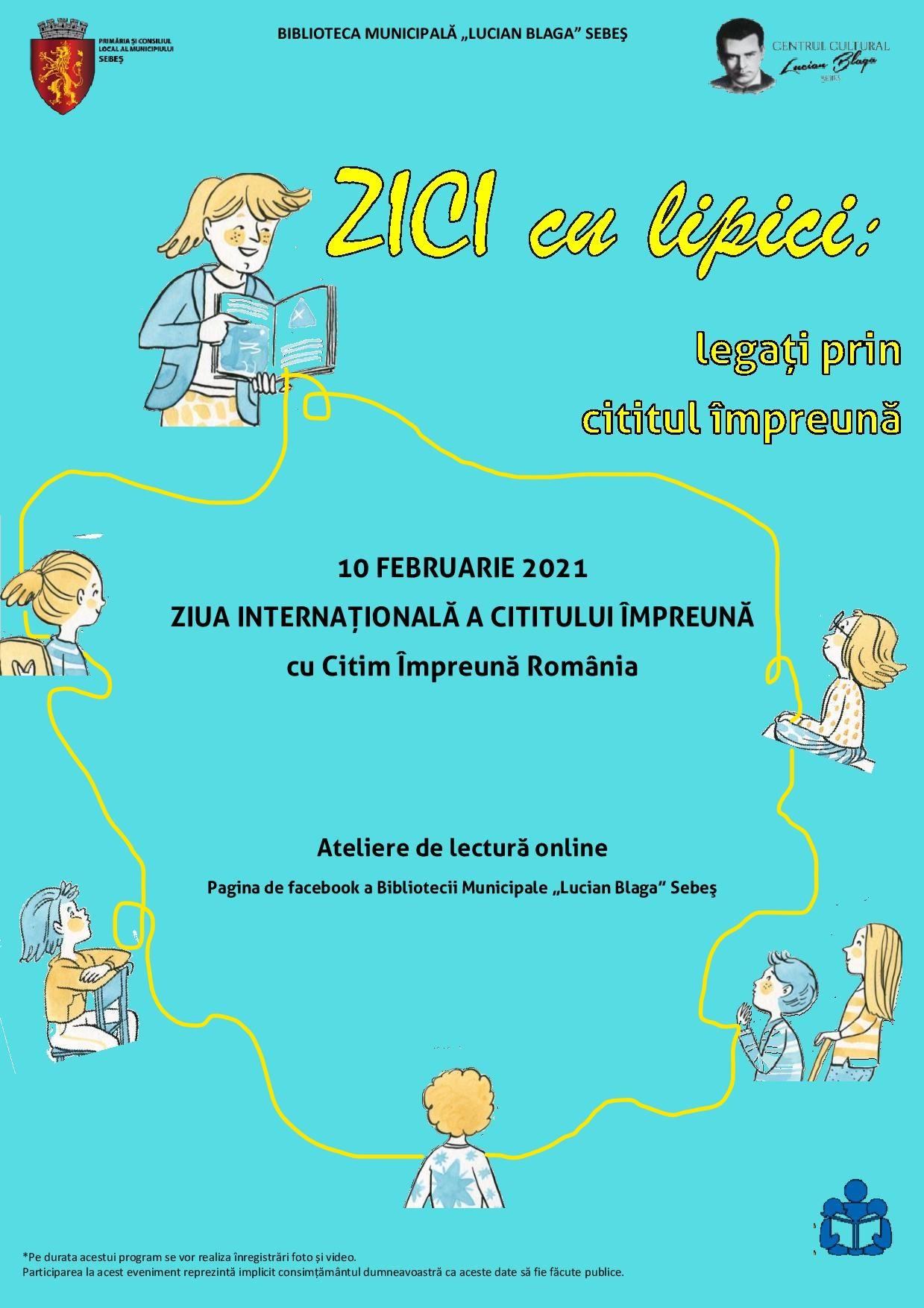 """ZICI 2021: În 10 februarie, la Sebeș, Biblioteca Municipală """"Lucian Blaga"""" ne invită să citim împreună!"""