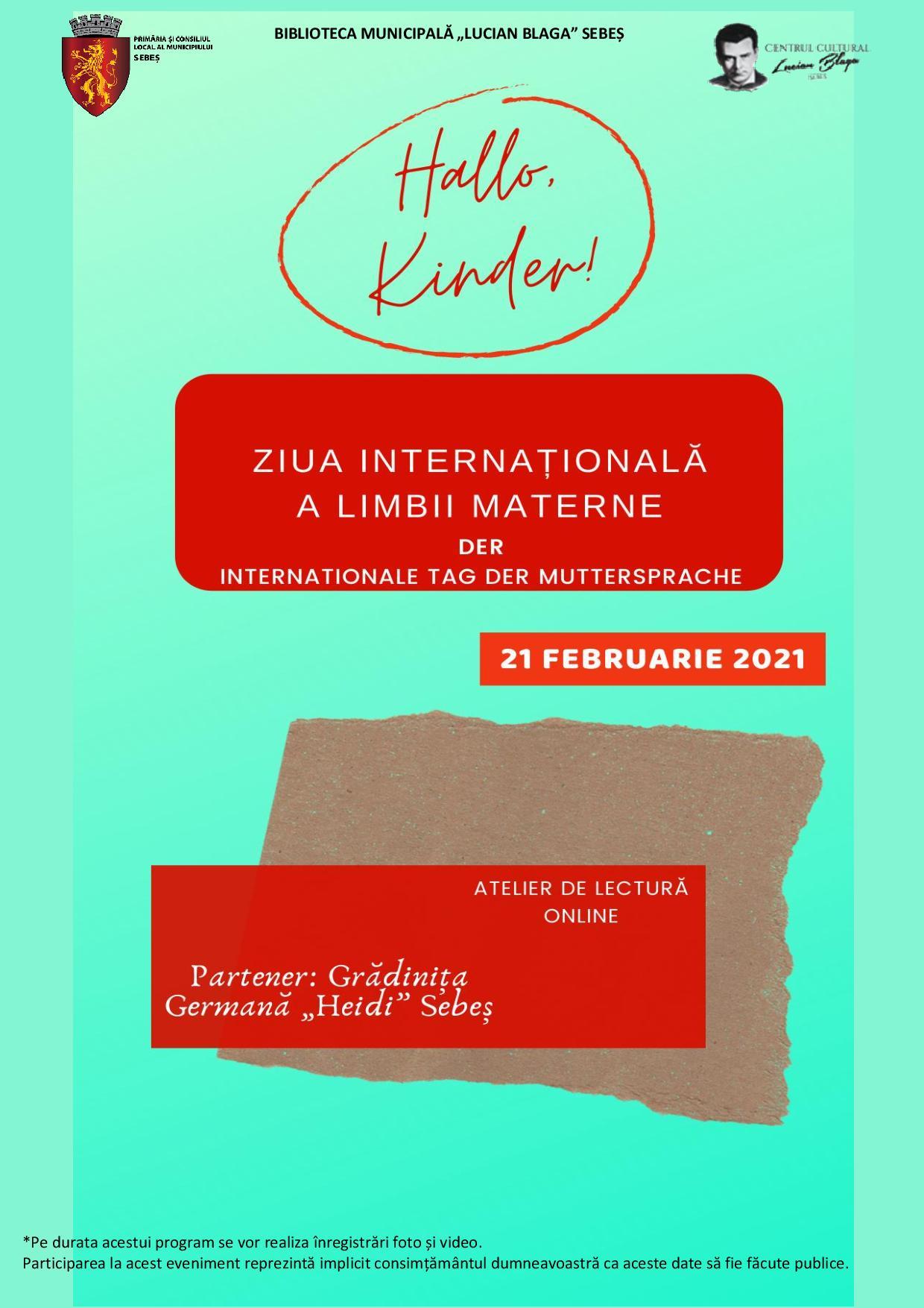 Biblioteca din Sebeș – atelier de lectură, în mediul online, cu prilejul Zilei Internaționale a Limbii Materne
